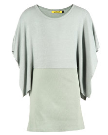 Zillycat Girls Dress With Bottom Panel & Wide Sleeves Mint Green