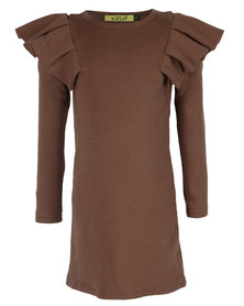Zillycat Girls Top With Pleated Cap Sleeves Coffee Brown