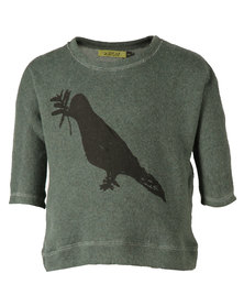 Zillycat Boys Printed Bird Fleece Top Muted Green