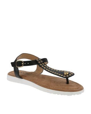 ZOOM Patty Eyelets Thong Sandals  Black