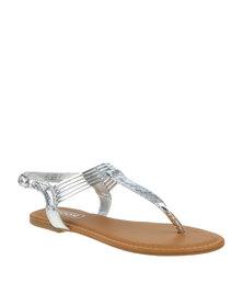 ZOOM Natasha Metallic Thong Strap Sandal Silver