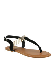 ZOOM Natasha Metallic Thong Strap Sandal Black