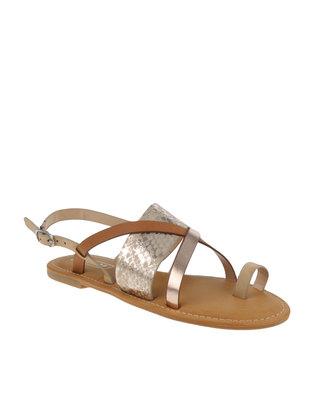 ZOOM Kate Toe Strap Sandal Gold Multi