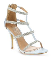 Zoom Asra Diamante Strappy Heels Silver