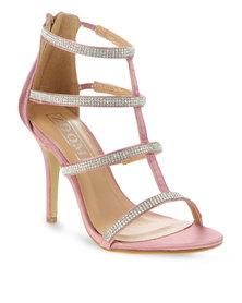 Zoom Asra Diamante Strappy Heels Pink