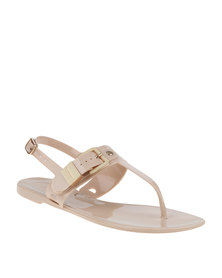 ZOOM Serena Thong Sandal With Side Buckle Nude