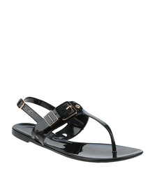 ZOOM Serena Thong Sandal With Side Buckle Black