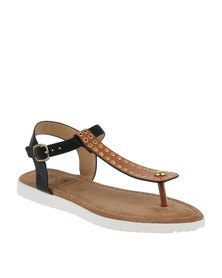 ZOOM Patty Eyelets Thong Sandals Tan