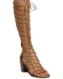 ZOOM Joan Block Heel Gladiator Chesnut