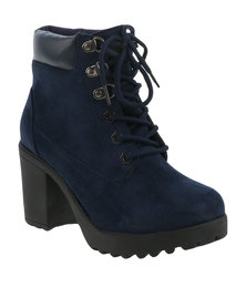 Zoom Andreah Micro Fibre Block Heel Chunky Ankle Boots Navy