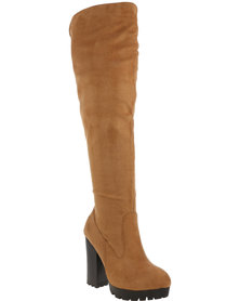 ZOOM Bunny Heeled Faux  Suede Boot Tan