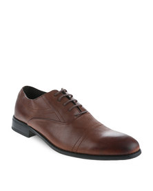 Zoom Anton Leather Lace-Up Shoes Brown