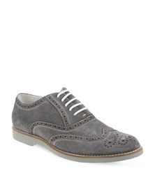 Zoom Farrell Leather Lace-Up Shoes Grey