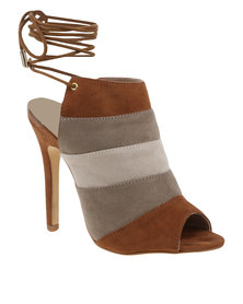 ZOOM Carrie Ankle Tie Heel Brown And Grey