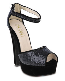 Zoom Miley Platform Heels Black