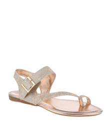 Zoom Gwen Glitter Flat Sandal Rose Gold