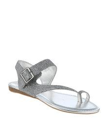 Zoom Gwen Glitter Flat Sandal Pewter