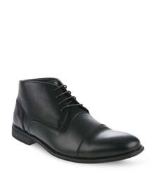 Zoom Herman Leather Lace-Up Boots Black