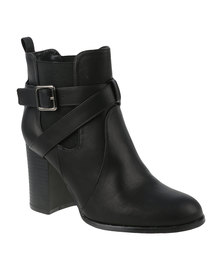 ZOOM Shanel Heeled Ankle Boot With Side Buckle Black