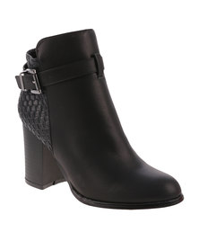 ZOOM Elena Heeled Ankle Boot With Side Buckle Black