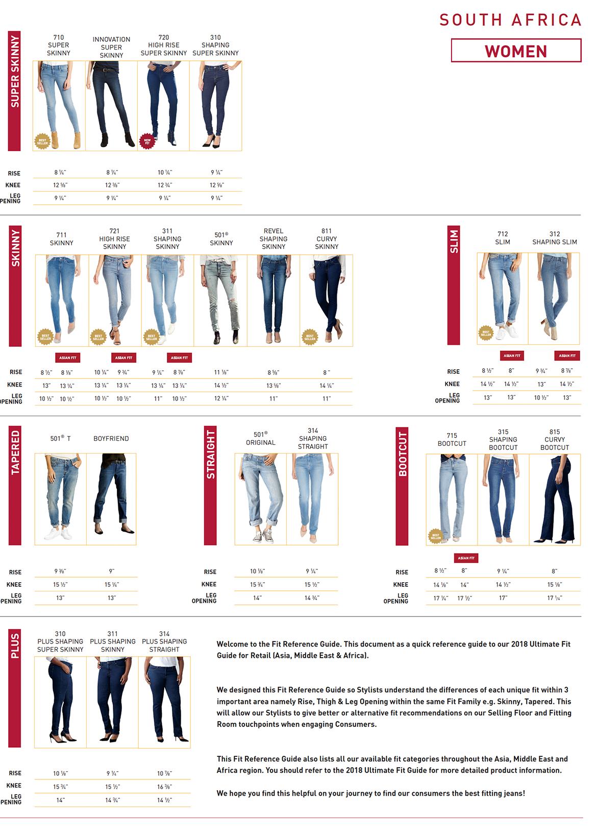 Levis Denim Size Guide For Women Zando