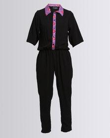 Black Buttons Miss E Jumpsuit Black