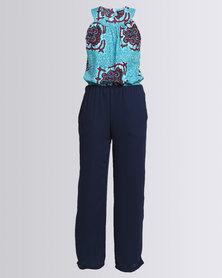 Black Buttons Miss T Jumpsuit Blue