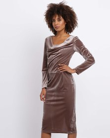 Black Buttons Velvet Midi Dress Brown