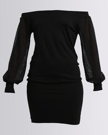 N'Joy Boatneck Dress With Net Sleeves Black