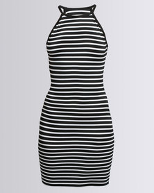 N'Joy Halterneck Dress Stripes Black