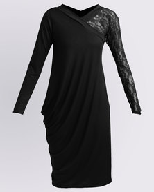 N'Joy Asymmetrical Dress With Lace Sleeve Black
