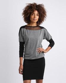 N'Joy Mesh Insert Dress With Pencil Skirt Grey/Black