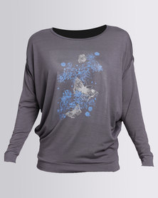 N'Joy Top With Blue Butterfly Print Grey