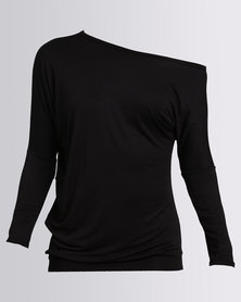 N'Joy Off Shoulder Long Sleeve Top Black