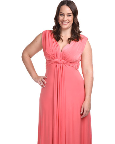Goddiva Plus Size Knot Front Maxi Dress Coral
