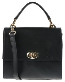 AnniKING Sweet Pea Leather Boxy Cross Body Bag Black