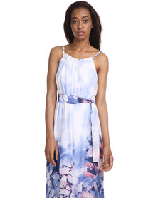 Female by Perfect Fit Floral Long Dress Blue/White