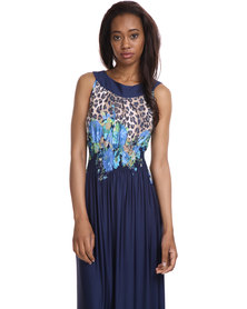 Female by Perfect Fit Long Flower Dress Navy