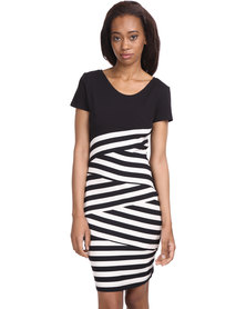 Female by Perfect Fit Bodycon Dress Black/White