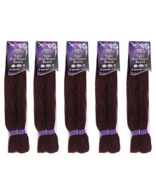 DISC African Splendor Value Offer Yaki Hot Water Braid Purple Plum 5 Pack Bundle and Free Wig Cap