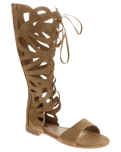 fcdfb835e7bdcd AWOL Knee High Gladiator Sandal Camel