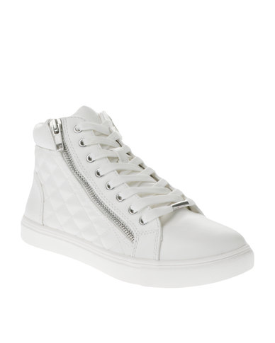22c81364903 Steve Madden Decaf Leather Quilted Sneaker White