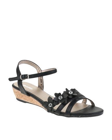 a3c6487fe976 Bata Floral Wedge Sandals Black