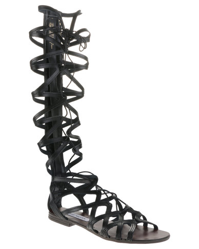 40a24831f36 Steve Madden Hercules Knee-High Lace-Up Gladiator Sandals Black