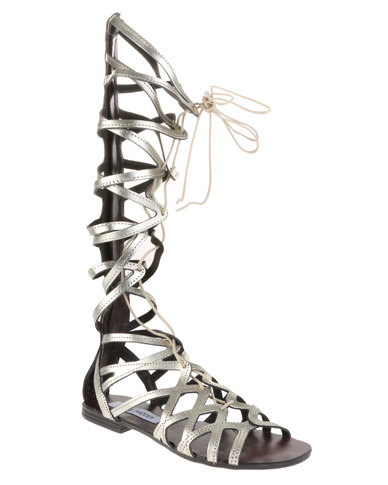 2b53fe62814a Steve Madden Hercules Knee High Lace-Up Gladiator Sandals Silver