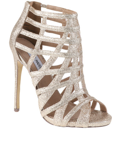 Steve Madden Marqueee Strappy High Heeled Glitter Sandals Gold