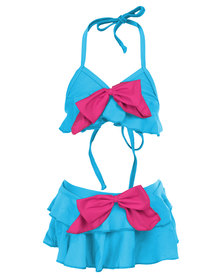 Just Jump! Frill Bikini Blue/Pink