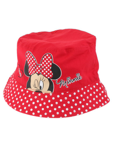 3b915675fb4 Character Brands Minnie Mouse Bucket Hat Red