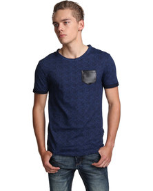 Cutty Morris Tee with PU Pocket Blue