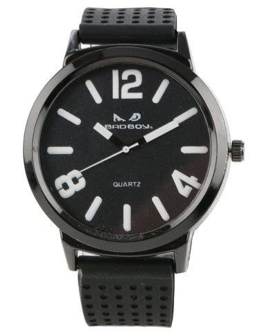 Bad Boy Ignite Perforated Strap Watch Black